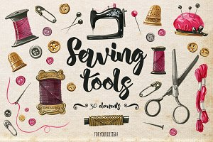 Watercolor sewing elements