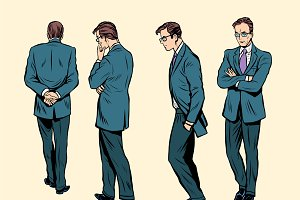 Poses of a walking human thinking