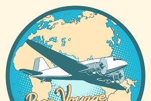 Bon voyage abstract retro plane