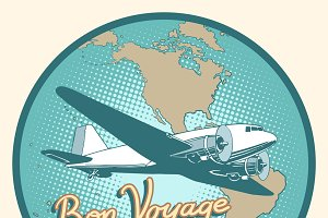 Bon voyage abstract retro plane