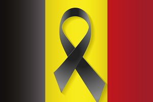 Belgium flag with a black ribbon