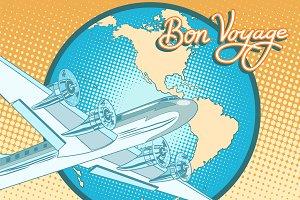 Bon voyage retro plane poster