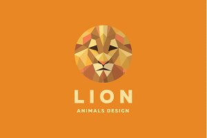 Lion Polygons animal face logo