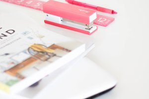 Office Desk With Pink Stationery