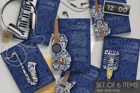 Music Instruments Set Cards Vector Brochure Templates Creative