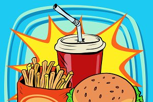 fast food fries burger drink cola