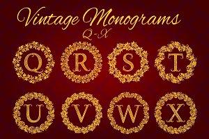 Q - X letters vintage monograms pack