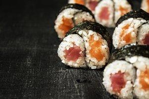 Rolls Yin-Yang with tuna and salmon