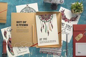 Set of boho ornament cards - vector