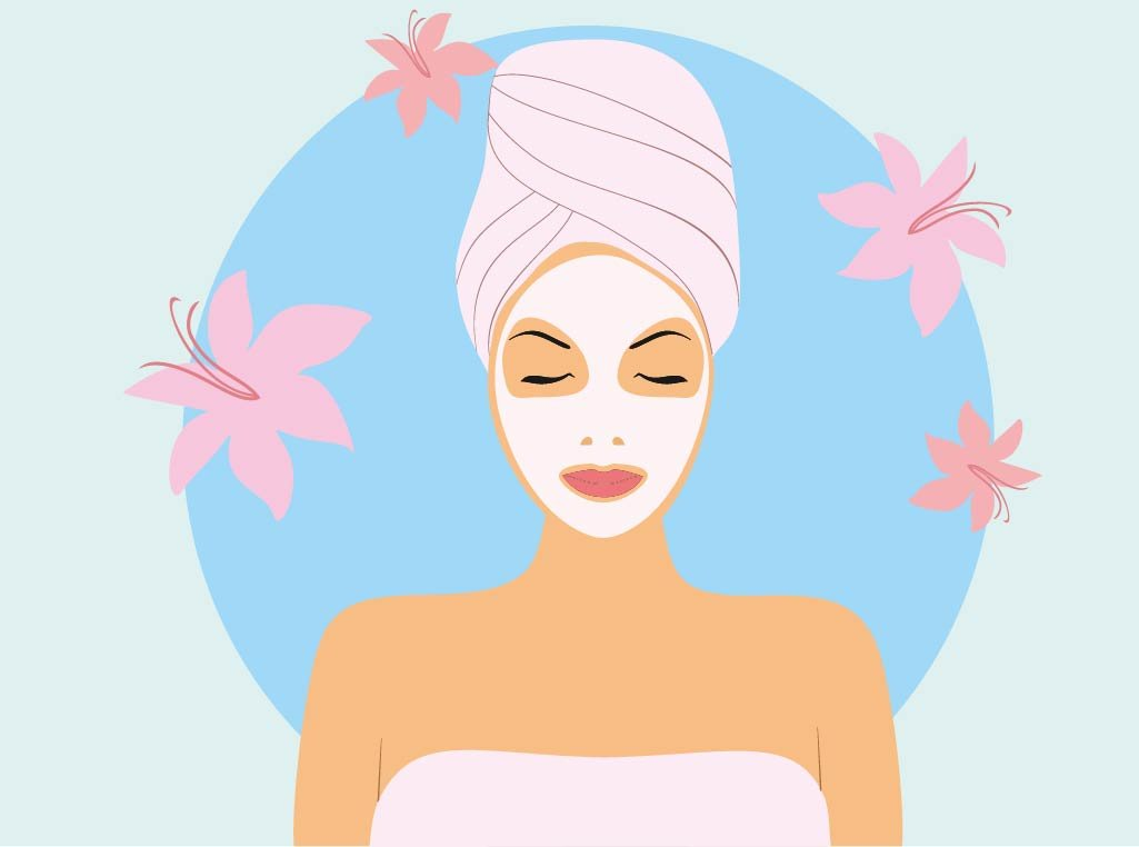 Vector Girl with Facial Mask ~ Illustrations ~ Creative Market