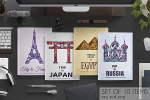 Art country travel cards set
