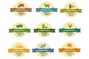 Farm Products Logo, Emblem, Labels.