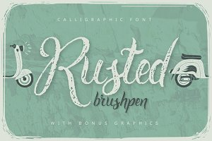 Rusted brushpen script + bonus