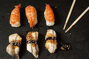 Nigiri with eel and king prawn