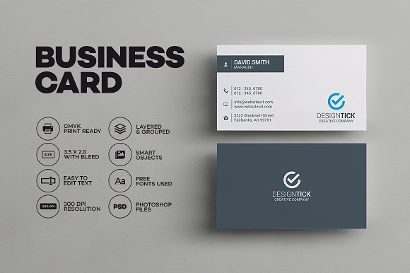 Sleek minimal business card business card templates creative market colourmoves