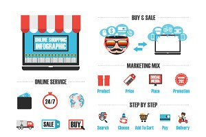 isolated online shop infographic