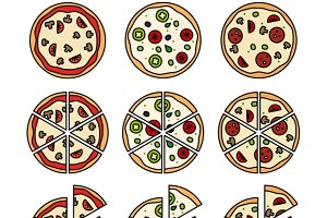 Pizza with pizza slices icons