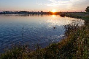 Sunset Lake Summer Scenery.