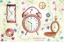 Watercolor time elements. Vintage