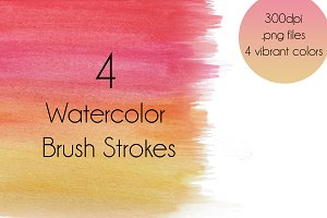 4Watercolor Brush Strokes Background