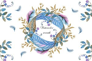 Watercolor wreaths. Frosted leaves.