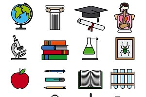Education color line icons
