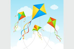Fly Kite Summer Background.