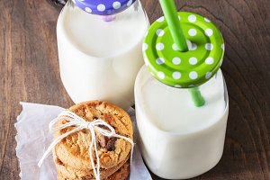 Milk & cookies, toned image
