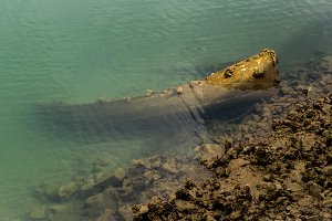 Sunken old fishing boat