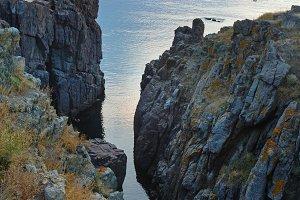 Morning sea coast landscape.