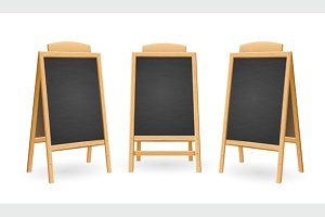 Menu Black Board Isolated Set
