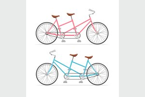 Vintage Tandem Bicycle Set. Vector