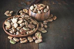 Fava beans. Toned image.