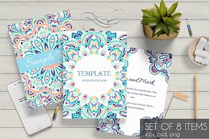 Ornamental abstract cards set