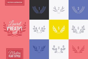 Set of minimalistic laurel wreaths