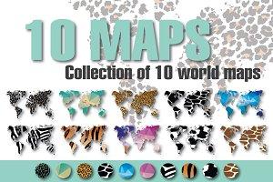 10 World Maps in Different Design