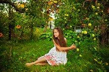 Teen girl in garden