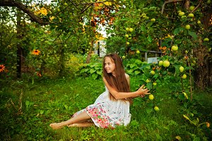 Teen girl in garden