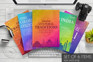 Indian bright cards set - vector