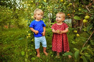 Cute sister and brother in garden