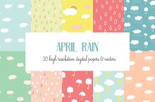 April Rain Vector Patterns
