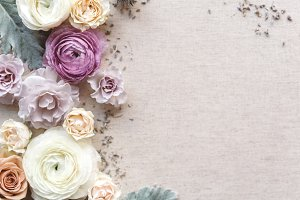 Purple and Linen Floral Styled Photo