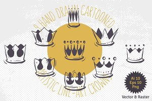 Hand Drawn Crowns Collection.