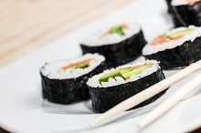 Sushi on a plate. Asian food.