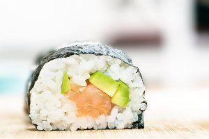 Sushi close-up. Asian healthy food.