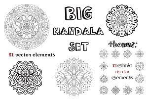 Big mandala set. Round ornaments.