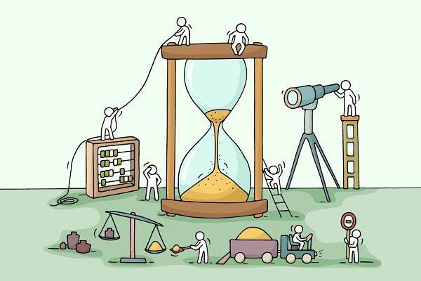 Cartoon teamwork with sandglass