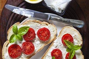 Bruschetta with soft cheese