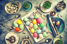 Easter decoration. Table setting