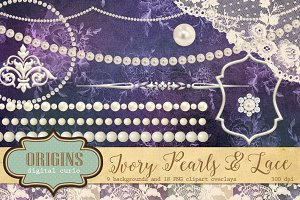 Ivory Pearls and Lace Clipart